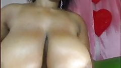 Ebony Huge Baloons Creamed And Squeezed On Webcam