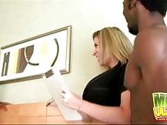 Sara Jay Seduces Two Black Studs