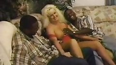 Sexy wife with two black lovers and cuckold slave husband