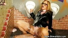 He gets to fuck her as she blows the gloryhole dick