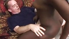 Very dark ebony chick lets white dick creampie her twat