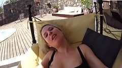 hot german blonde fucked on terrace creampie