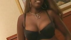 Busty ebony babe sucking white cock and get facial cumshot