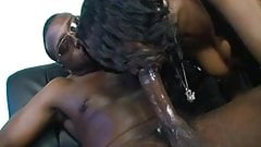 Ebony slut deepthoats black monster cock