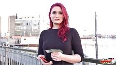 GERMAN SCOUT - Rothaarige Studentin Melina für Geld gefickt