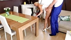 Horny blonde fucks with plumber