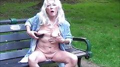 Skinny hot granny flashing and masturbating outdoor