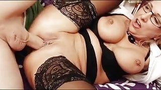German Big Tits Mommy Glasses Stockings