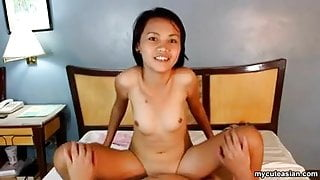 Reverse riding that dick as her small boobies bounce lightly
