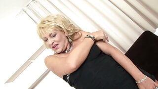 Blonde mature milf with big black cock - facial cum