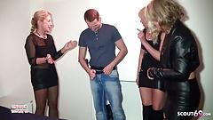 3 Notgeile MILFs treiben es mit Jungspund auf Party Deutsch