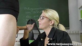horny nasty teacher blowjob student in office