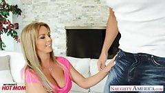 Busty blonde mom Amber Lynn Bach fucking a large dick