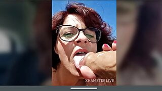 Sexy redhead French mature close-up pussy fingering and squirting