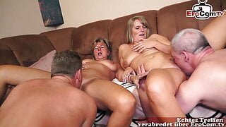 Old german housewife homemade foursome orgy