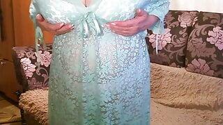 Russian mature lady undresses