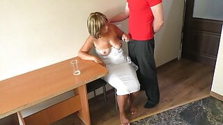 I touched mom's breasts and fucked her big ass
