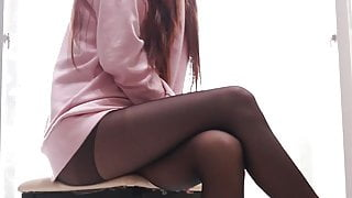 Black stocking legs.