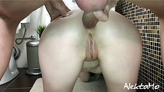 Hot fuck with skinny stepsister in bathroom insemination