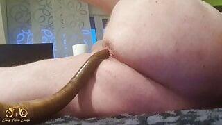 CrazyFetishCouple - Snake Anal Dildo (40 cm) in his ass