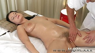 STEP MOM Brunette has the massage of her life
