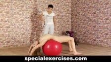 Naked discipline sport training for blondie